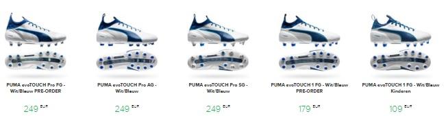 voetbalschoenen evotouch blauw wit