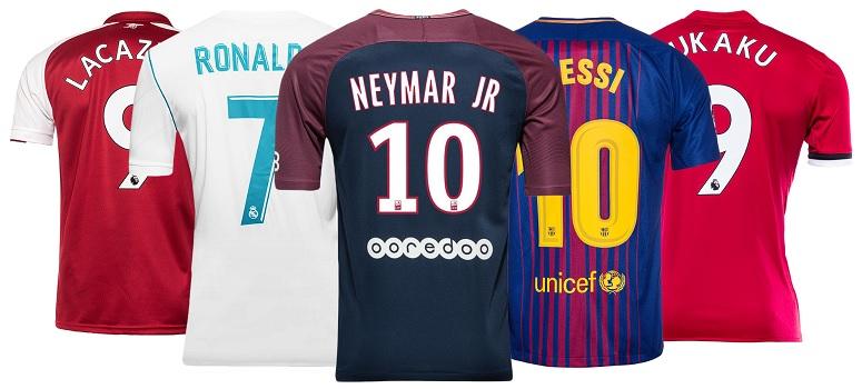 top 10 voetbalshirts met naam 2017-18