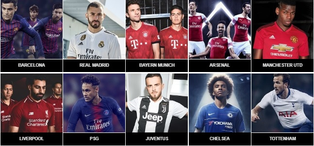 top 10 voetbalshirts 2018-2019