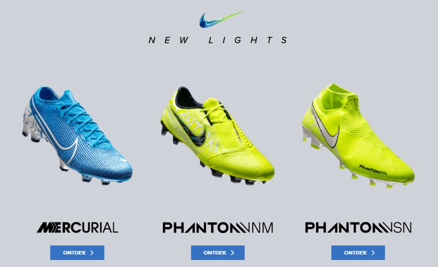 nike voetbalschoenen new lights blauw geel